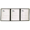 6-Panel Clear Plastic Menu Cover with Black Binding 9-1/4\x22 x 12\x22