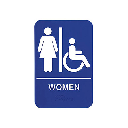 "Women/Accessible Wall Sign with Braille 6"" x 9"""