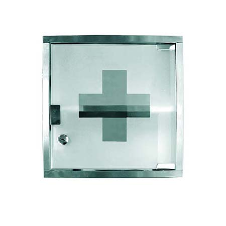 "Stainless Steel First Aid Cabinet 12""H x 12""W x 4-3/4""D"