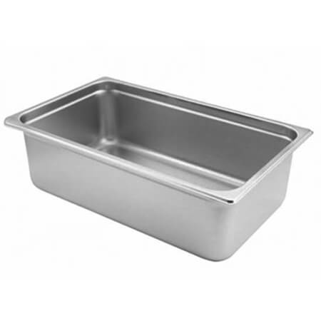 "Full Size Anti-Jam Standard Weight Stainless Steel Food Pan 6"" Deep"