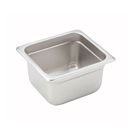 "1/6-Size Anti-Jam Standard Weight Stainless Steel Food Pan 4"" Deep"