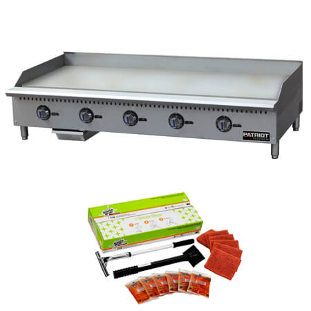 "Patriot Platinum 150,000 BTU Thermostat Controlled Gas Griddle 60""W with Free 3M Cleaning Kit, a $76.50 value"
