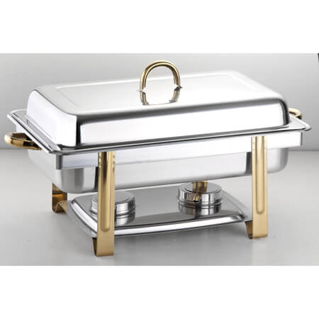8-Quart Stainless Steel Chafer with Gold Plated Handles