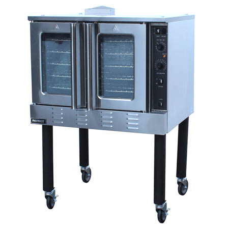"Patriot Full Size Single Deck Natural Gas Convection Oven with Legs and Casters 39""W"