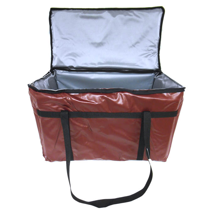 Burgundy Vinyl Insulated Food Delivery Bag 22 L X 13 W 12 H