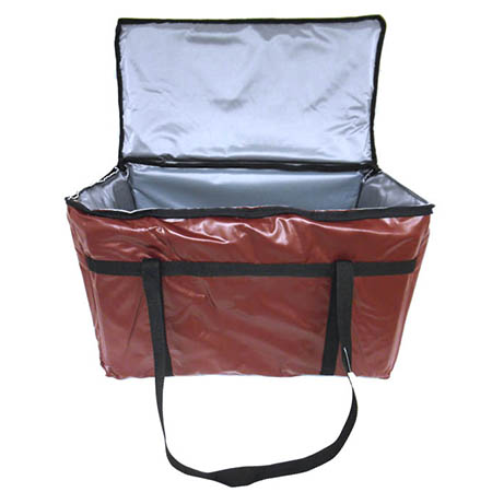 "Burgundy Vinyl Insulated Food Delivery Bag 22""L x 13""W x 12""H"