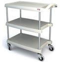 "Metro 3-Shelf Gray Bus Cart with Swivel Casters 31-1/2""L x 18-5/16""W x 35-1/2""H"