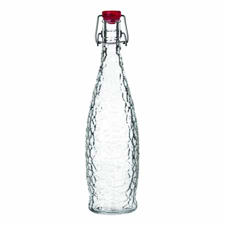 Libbey 34 oz Glacier Oil Glass Bottle with Red Wire Bail Lid