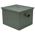 "Zurn 20 Gal/Min 40 lb. Capacity Steel Grease Interceptor with 3"" Flow Control 24-1/8""L x 17-1/4""W x 15""H"