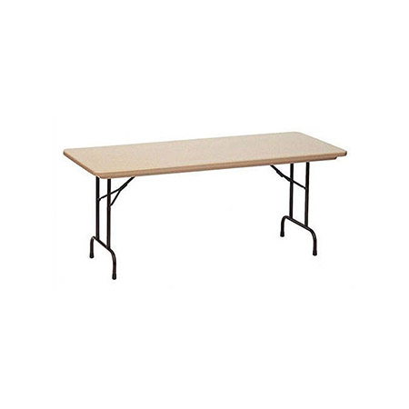 Correll 6' Heavy Duty Mocha Molded Plastic Folding Table with 1-1/4 Top