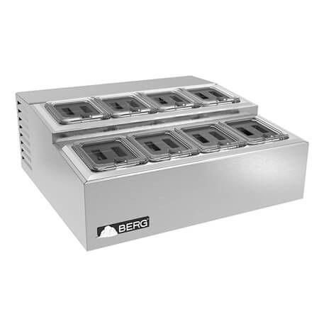 Berg 8 Covered Pan Countertop Refrigerated Prep Station
