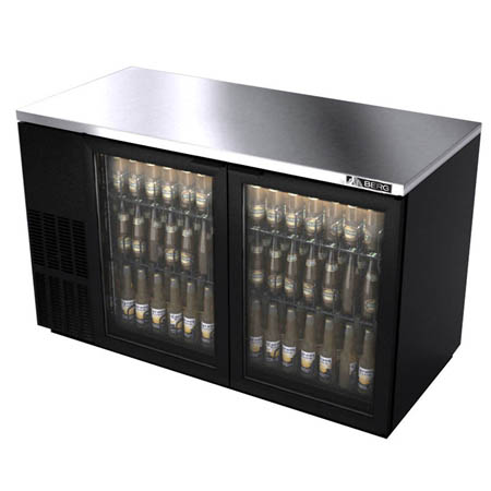 "Berg 25.2 cu. ft. Stainless Steel Top Back Bar Cooler with Glass Doors 59-1/2""W"