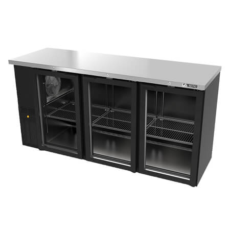 "Berg Slim Line Stainless Steel Top Back Bar Cooler with Glass Doors 72""W"