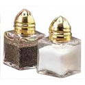 Tablecraft 0.5 oz. Glass Salt and Pepper Shaker with Gold Color Top
