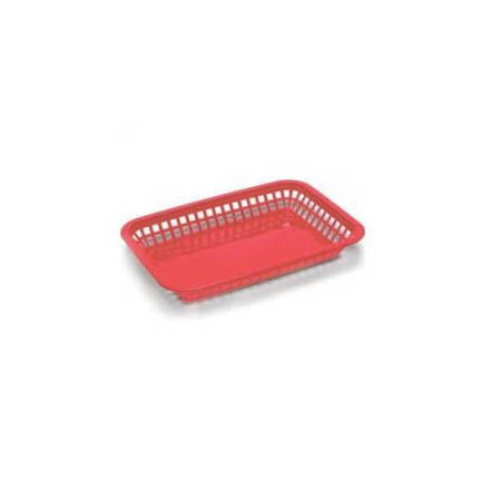 "Red Plastic Rectangle Basket 10-3/4"" x 7-3/4"" x 1-1/2"""
