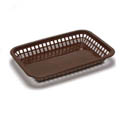 Brown Plastic Rectangle Basket 10-3/4\x22 x 7-3/4\x22 x 1-1/2\x22