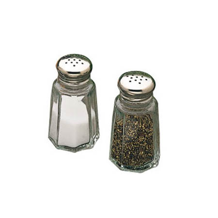 Tablecraft 2 oz. Glass Paneled Salt and Pepper Shaker