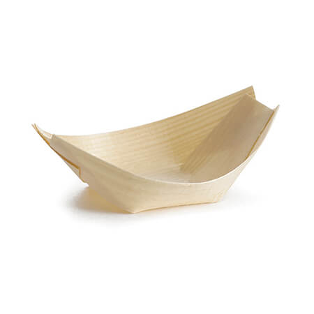 "Tablecraft Small Disposable Pinewood Serving Boat 3-1/2"" x 2"""