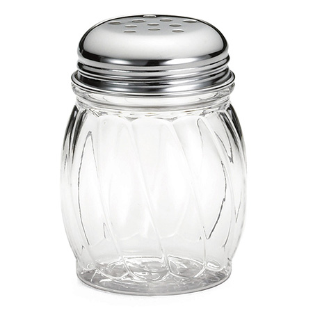Tablecraft 6 oz. Lexan Cheese Shaker with Chrome-Plated Perforated Top