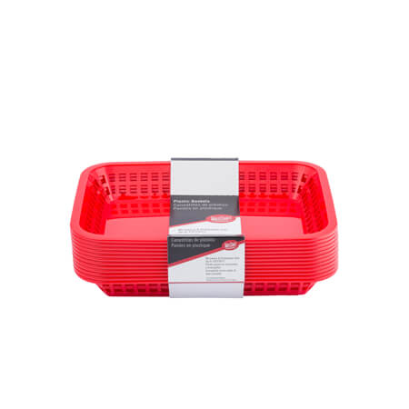 "Tablecraft Red Grande Rectangular Basket 10-3/4""W x 7-3/4""D x 1-1/2""H"