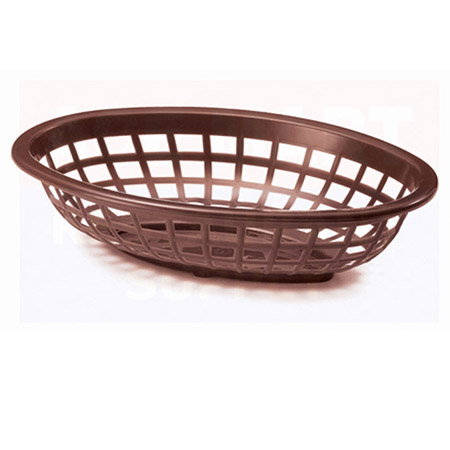 "Brown Plastic Oval Basket 7-3/4"" x 5-1/2"" x 1-3/8"""