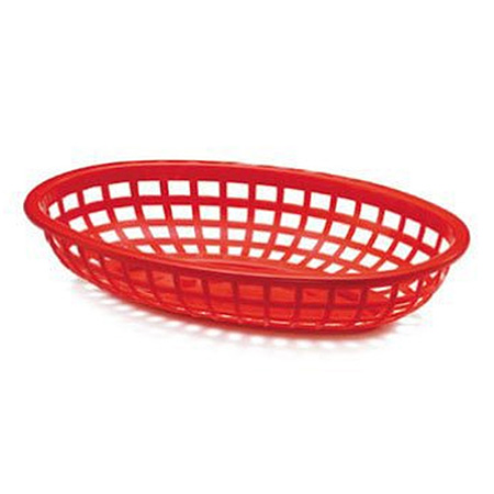 "Red Plastic Oval Basket 7-3/4"" x 5-1/2"" x 1-3/8"""