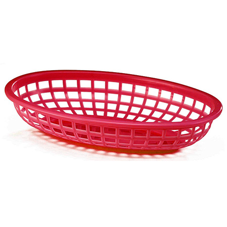 "Red Plastic Oval Basket 9-3/8"" x 6"" x 1-3/8"""