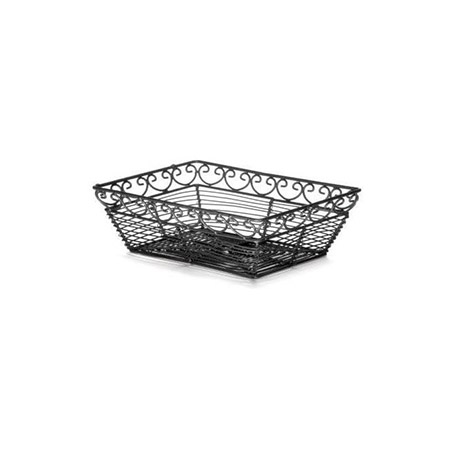 "Black Metal Rectangle Mediterranean Basket 9"" x 6"" x 3"""