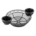 Tablecraft Black Metal Round Mediterranean Basket with Ramekin Holders 11\x22 x 8 \x22 x 2\x22