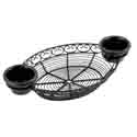 Tablecraft Black Metal Oval Mediterranean Basket with Ramekin Holders 13\x22 x 7\x22 x 2\x22