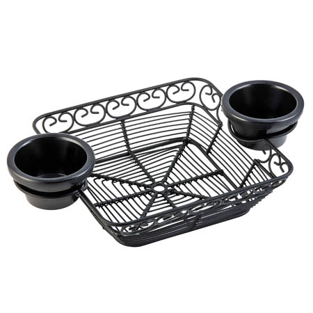 "Tablecraft Black Metal Square Mediterranean Basket with Ramekin Holders 11"" x 7"" x 2"""