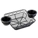 Tablecraft Black Metal Square Mediterranean Basket with Ramekin Holders 11\x22 x 7\x22 x 2\x22