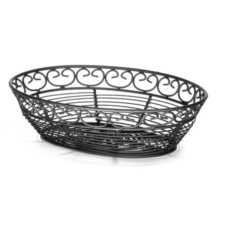 "Tablecraft Black Metal Oval Mediterranean Basket 9"" x 6-1/4"" x 2-1/4"""