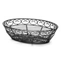 Tablecraft Black Metal Oval Mediterranean Basket 9\x22 x 6-1/4\x22 x 2-1/4\x22