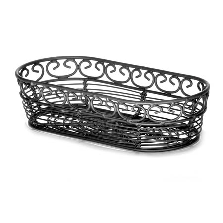 "Tablecraft Black Metal Oblong Mediterranean Basket 9"" x 4"" x 2"""