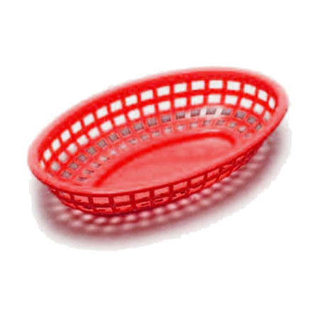 "Red Plastic Jumbo Oval Basket 11-3/4"" x 8-7/8"" x 1-7/8"""