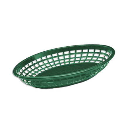 "Forest Green Plastic Jumbo Oval Basket 11-3/4"" x 8-7/8"" x 1-7/8"""