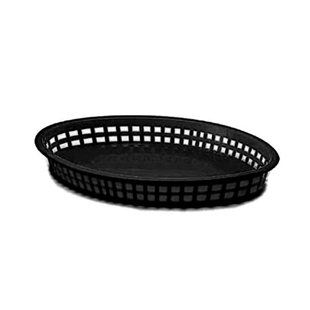 "Black Plastic Oval Basket 12-3/4"" x 9-1/2"" x 1-1/2"""