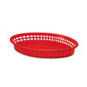 Red Plastic Oval Basket 12-3/4\x22 x 9-1/2\x22 x 1-1/2\x22