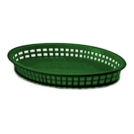 "Forest Green Plastic Texas-Sized Oval Basket 12-3/4 "" x 9-1/2"" x 1-1/2"""