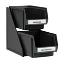 Traex 2-Tier Self-Serve Condiment Bin Set with 8\x22 Black Plastic Bins