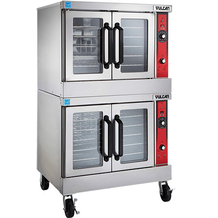 "Vulcan Full Size Double Deck Natural Gas Convection Oven with Casters 40""W"