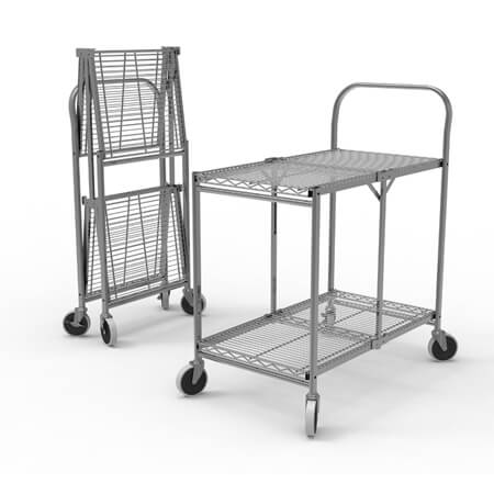 Luxor 2-Shelf 200 lb. Capacity Collapsible Wire Utility Cart