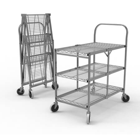 "Luxor 3-Shelf 300 lb. Capacity Collapsible Wire Utility Cart 33-3/4""W x 19-1/2""D x 39-1/2""H"