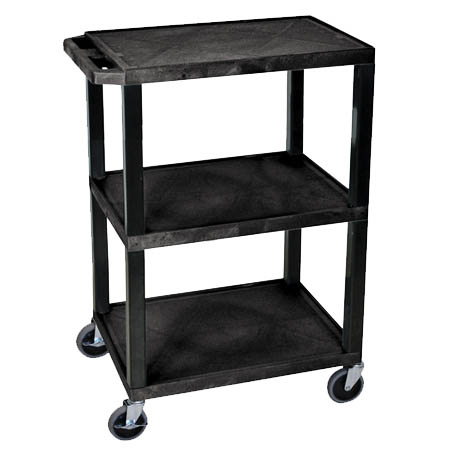 "3-Shelf All Purpose Black Utility Bus Cart 24""L x 18""W x 34""H"