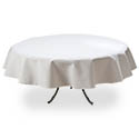 White Twill Tablecloth 76\x22 Round