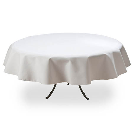 "White Twill Tablecloth 88"" Round"