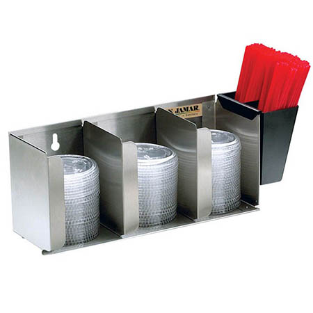 San Jamar Stainless Steel Straw and Lid Organizer