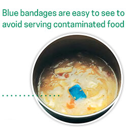 Blue bandages contaminate