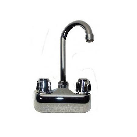 "Krowne 4"" Heavy Duty Center Wall Mount Faucet with 3-1/2"" Gooseneck Spout"